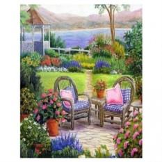 Картина-раскраска по номерам на холсте Летний сад