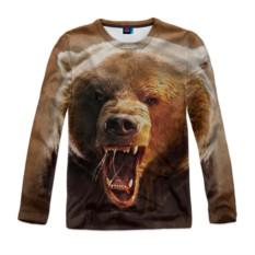 Мужской лонгслив с полной запечаткой Медведь