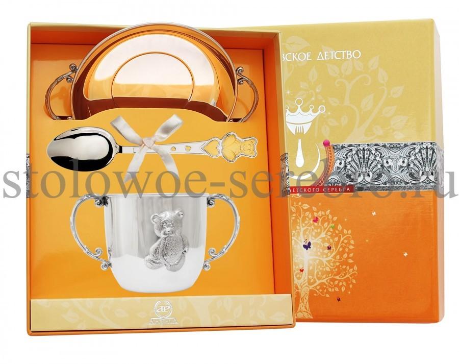 Серебряный столовый набор Мишка с сердечками №151