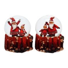 Фигурка в стеклянном шаре с музыкой Санта (цвет — красный)