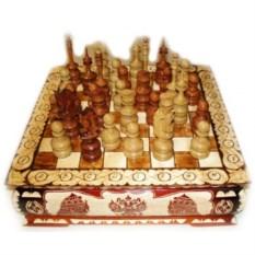 Резные шахматы Ларец (40х40 см)