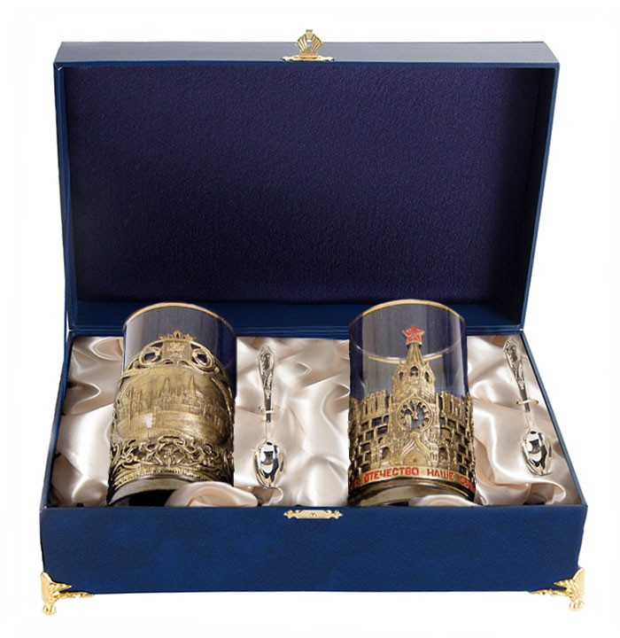 Чайная пара в шкатулке Москва+Славься Отечество