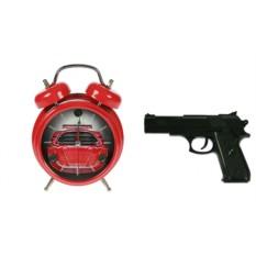 Красные часы-будильник с пистолетом Меткое пробуждение
