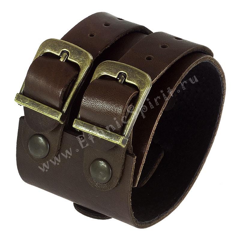 Коричневый кожаный браслет-напульсник