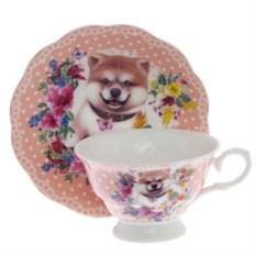 Розовый набор чашка с блюдцем Собачка