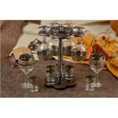 Мини-бар (6 бокалов под вино, 6 рюмок, золотая гравировка)