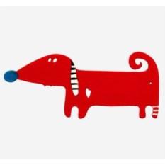 Деревянная брошь Собака - друг (цвет: бордовый)