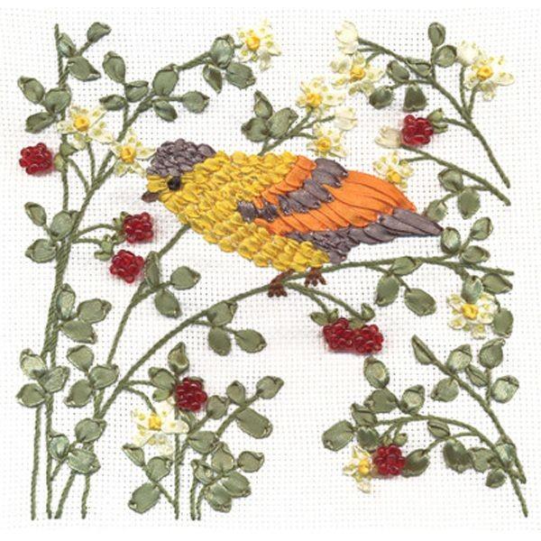 Набор для вышивания лентами и бисером Малиновые трели