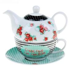 Подарочный чайный набор на 1 персону «Счастье там, где дом»