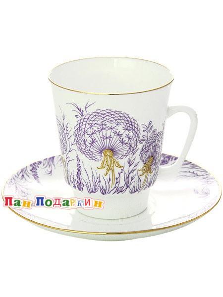 Кофейная чашка с блюдцем Одуванчики