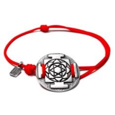 Веревочный браслет Янтра Лакшми (серебро, 925 проба)