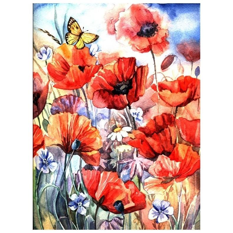 Картина-раскраска по номерам на холсте Аромат маков