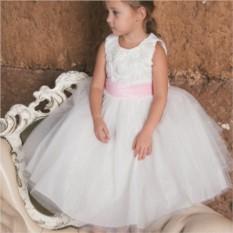Пышное праздничное платье с розовым поясом Rose