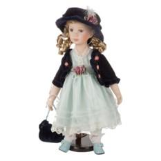 Фарфоровая кукла с мягконабивным туловищем в шляпке