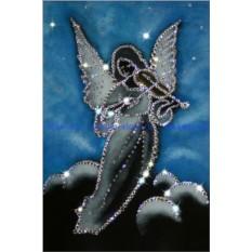 Картина с кристаллами Swarovski Ангел со скрипкой