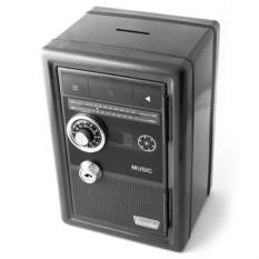 Черная копилка-сейф с ключом Радио ретро