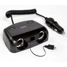 Разветвлитель прикуривателя RING 2 гнезда, micro USB