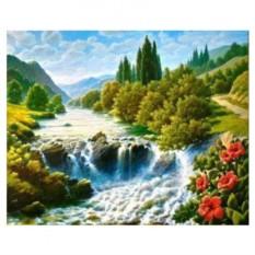 Картина-раскраска по номерам на холсте Горная река