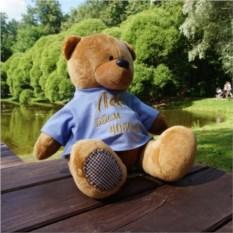 Мягкая именная игрушка Медведь в синей футболке