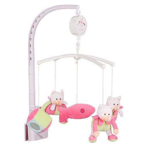 Мобиле с мягконабивными игрушками «Розовый котик»