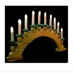 Светильник на деревянной подставке Горка с 10 свечками