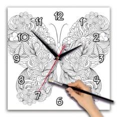 Квадратные часы-раскраска Бабочка