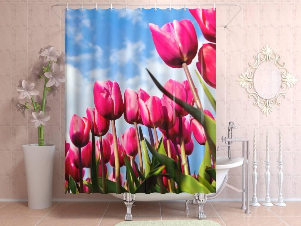 Штора для ванной Розовые тюльпаны