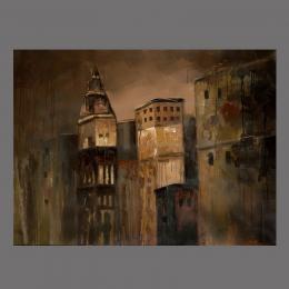 Картина «Отражение ночного города», холст, масло, лак