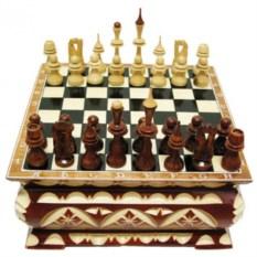Шахматы резные Ларец 18х18 см