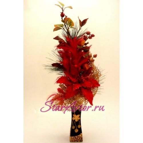 Новогодняя флористическая композиция Страсть любви