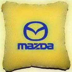 Желтая подушка с синей вышивкой Mazda