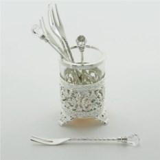 Посеребренный набор вилок с кристаллами