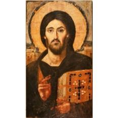 Копия иконы VI века на доске Христос Пантократор Синайский