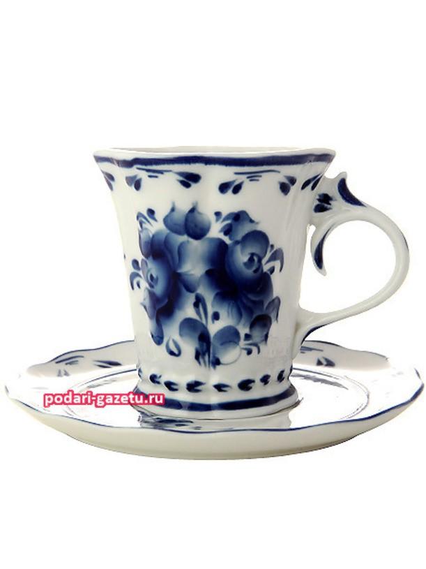Чайная пара Гжель. Художественная роспись Катерина