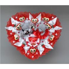 Букет из мягких игрушек и конфет Валентинка 2