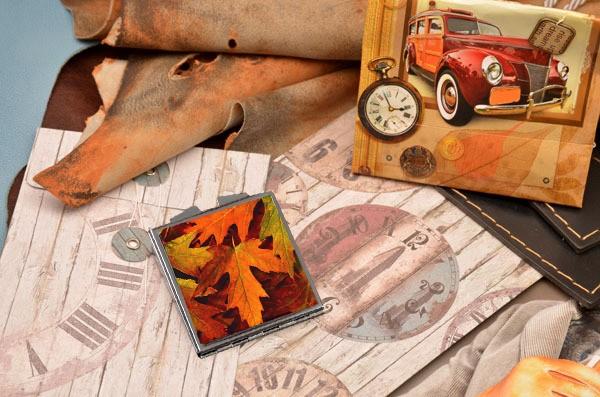 Карманное зеркальце Осенние листья
