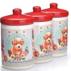 Красный набор банок 6 предметов Собачка