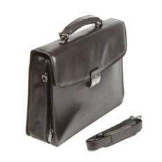 Мужской черный кожаный портфель Sergio Belotti