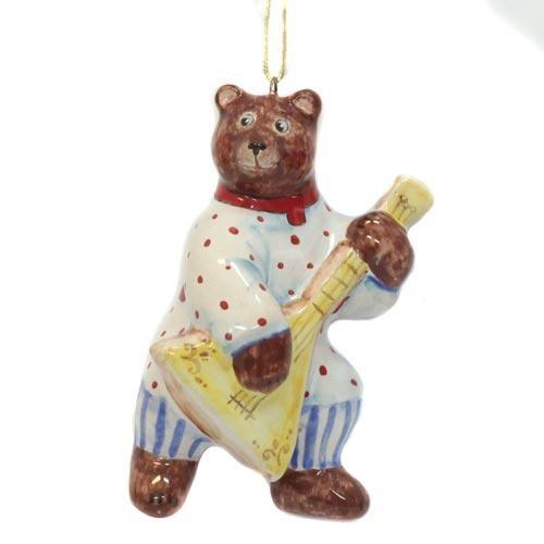 Елочная игрушка Медведь с бас-балалайкой