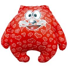 Красная подушка-игрушка Котик Влюбленное сердце