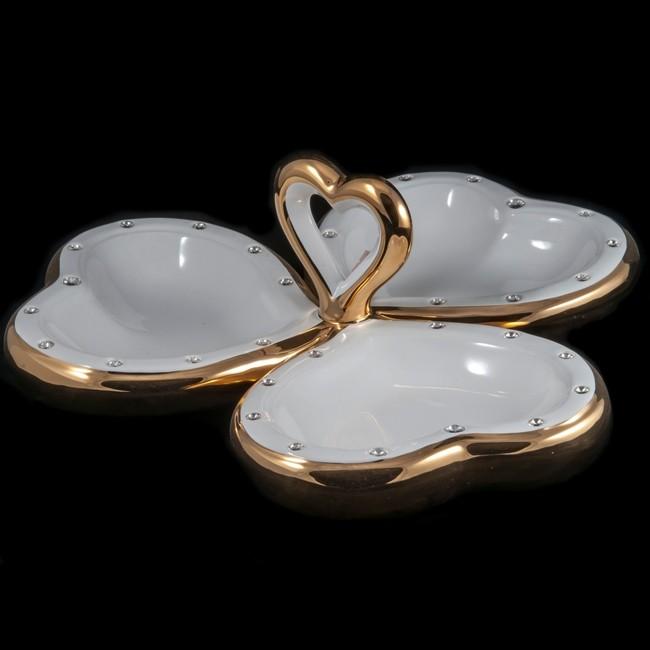 Конфетница с золотом с кристаллами Венеция