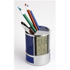 Набор под канцелярию с часами, датой, термометром, синий