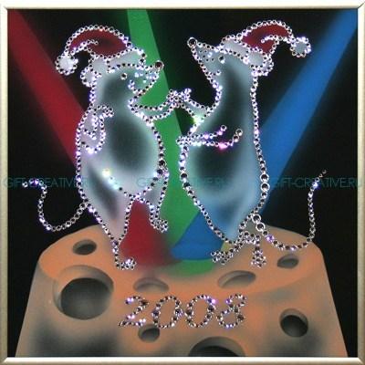 Картина с кристаллами Swarovski Танцующие крыски