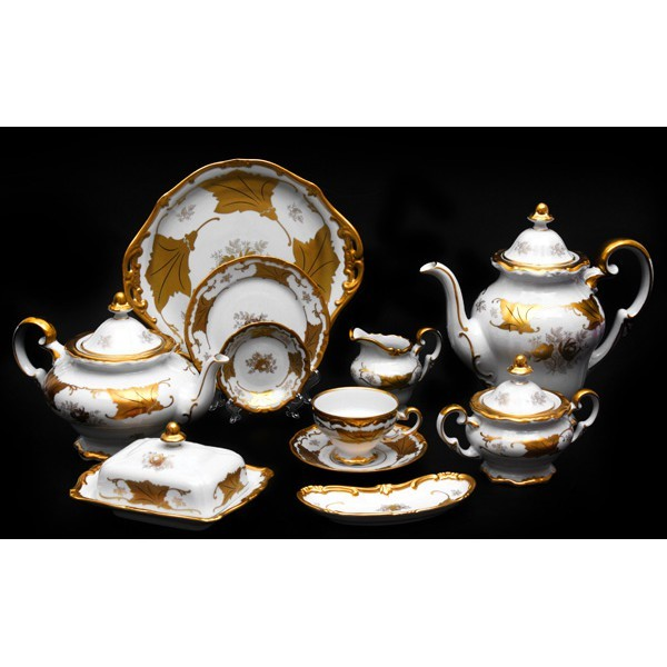 Фарфоровый чайный сервиз на 12 персон Кленовый лист белый