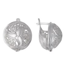 Серебряные круглые серьги диаметром 20 мм