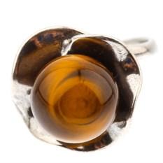 Кольцо из мельхиора с тигровым глазом Ладога