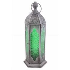 Подсвечник Фонарь с зеленым стеклом