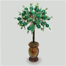 Дерево здоровья из малахита в вазочке из оникса