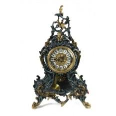 Часы из бронзы с маятником Луис, цвет синий с золотом
