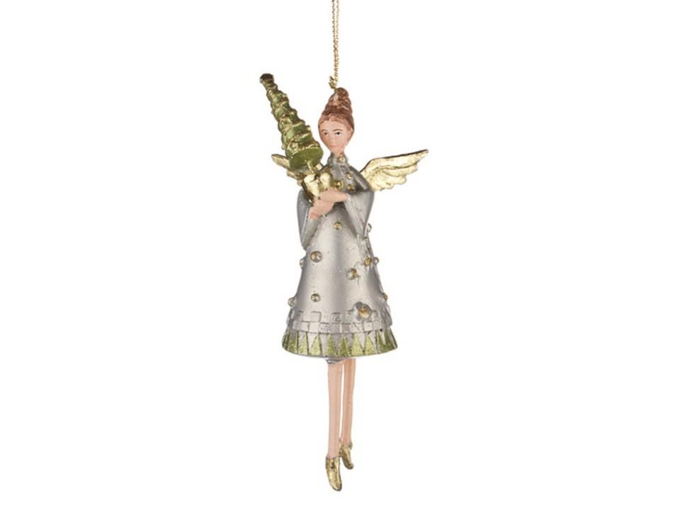 Елочная игрушка Ангел с елкой